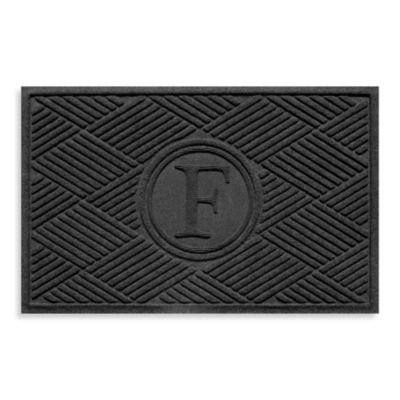 "Weather Guard™ Diamonds Monogrammed ""F"" 23-Inch x 35-Inch Door Mat in Charcoal"