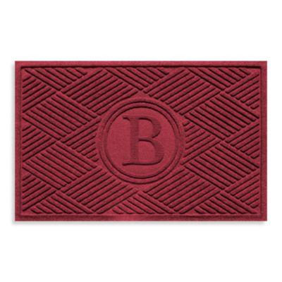 """Weather Guard™ Diamonds Monogrammed """"B"""" 23-Inch x 35-Inch Door Mat in Red/Black"""