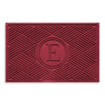 "Weather Guard™ Diamonds Monogrammed ""E"" 23-Inch x 35-Inch Door Mat in Red/Black"