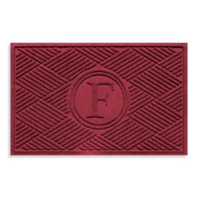 "Weather Guard™ Diamonds Monogrammed ""F"" 23-Inch x 35-Inch Door Mat in Red/Black"
