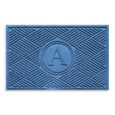 "Weather Guard™ Diamonds Monogrammed ""A"" 23-Inch x 35-Inch Door Mat in Medium Blue"