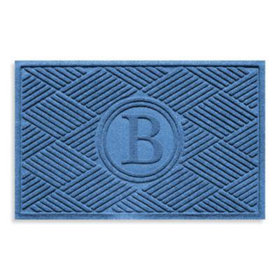 """Weather Guard™ Diamonds Monogrammed """"B""""23-Inch x 35-Inch Door Mat in Medium Blue"""