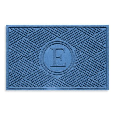"Weather Guard™ Diamonds Monogrammed ""E"" 23-Inch x 35-Inch Door Mat in Medium Blue"