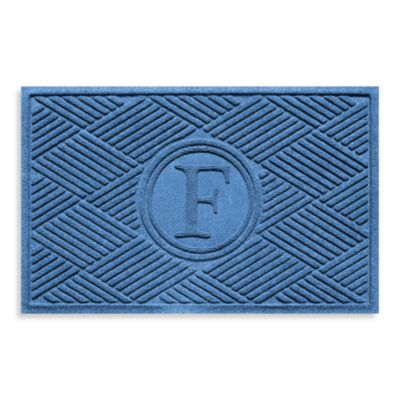 "Weather Guard™ Diamonds Monogrammed ""F"" 23-Inch x 35-Inch Door Mat in Medium Blue"
