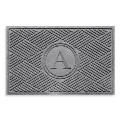 """Weather Guard™ Diamonds Monogrammed """"A"""" 23-Inch x 35-Inch Door Mat in Medium Grey"""