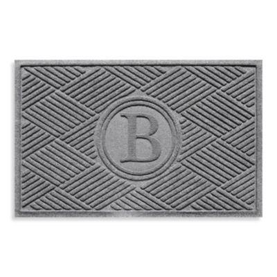"""Weather Guard™ Diamonds Monogrammed """"B"""" 23-Inch x 35-Inch Door Mat in Medium Grey"""