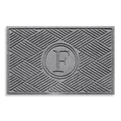"Weather Guard™ Diamonds Monogrammed ""F"" 23-Inch x 35-Inch Door Mat in Medium Grey"