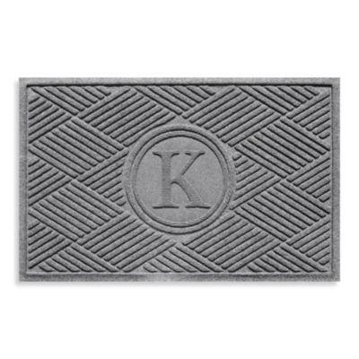 """Weather Guard™ Diamonds Monogrammed """"K"""" 2-Foot x 3-Foot Door Mat in Red/Black"""