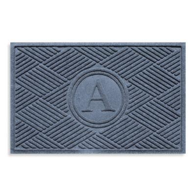"Weather Guard™ Diamonds Monogrammed ""A"" 23-Inch x 35-Inch Door Mat in Bluestone"