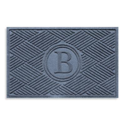 """Weather Guard™ Diamonds Monogrammed """"B"""" 23-Inch x 35-Inch Door Mat in Bluestone"""