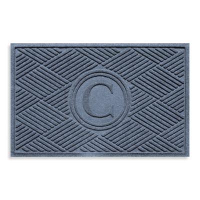 """Weather Guard™ Diamonds Monogrammed """"C"""" 2-Foot x 3-Foot Door Mat in Aquamarine"""