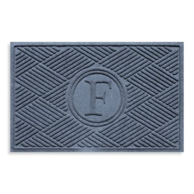 "Weather Guard™ Diamonds Monogrammed ""F"" 23-Inch x 35-Inch Door Mat in Bluestone"
