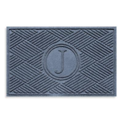"""Weather Guard™ Diamonds Monogrammed """"J"""" 2-Foot x 3-Foot Door Mat in Red/Black"""