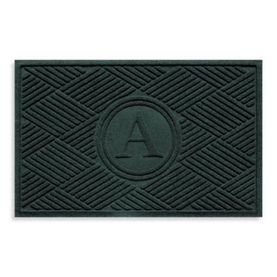 "Weather Guard™ Diamonds Monogrammed ""A"" 23-Inch x 35-Inch Door Mat in Evergreen"