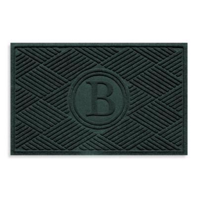 """Weather Guard™ Diamonds Monogrammed """"B"""" 23-Inch x 35-Inch Door Mat in Evergreen"""