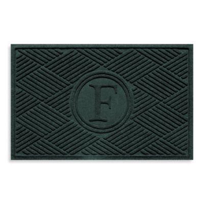 """Weather Guard™ Diamonds Monogrammed """"F"""" 23-Inch x 35-Inch Door Mat in Evergreen"""