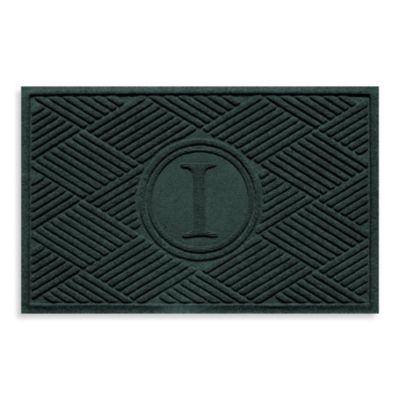"""Weather Guard™ Diamonds Monogrammed """"I"""" 23-Inch x 35-Inch Door Mat in Evergreen"""