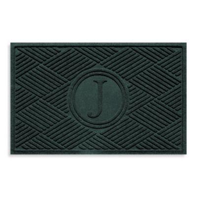"""Weather Guard™ Diamonds Monogrammed """"J"""" 23-Inch x 35-Inch Door Mat in Evergreen"""