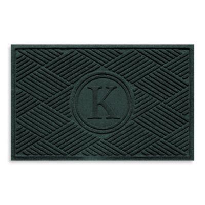 """Weather Guard™ Diamonds Monogrammed """"K"""" 23-Inch x 35-Inch Door Mat in Evergreen"""