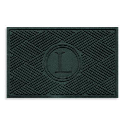 """Weather Guard™ Diamonds Monogrammed """"L"""" 23-Inch x 35-Inch Door Mat in Evergreen"""