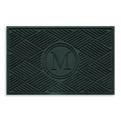 """Weather Guard™ Diamonds Monogrammed """"M"""" 23-Inch x 35-Inch Door Mat in Evergreen"""