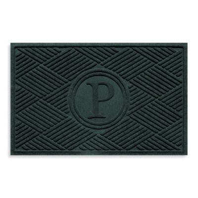 """Weather Guard™ Diamonds Monogrammed """"P"""" 23-Inch x 35-Inch Door Mat in Evergreen"""