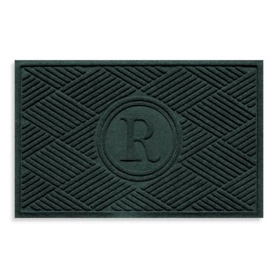 """Weather Guard™ Diamonds Monogrammed """"R"""" 23-Inch x 35-Inch Door Mat in Evergreen"""