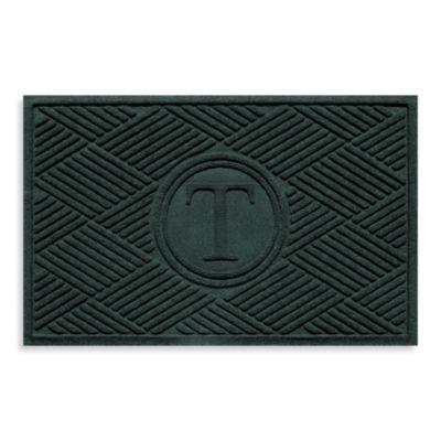 """Weather Guard™ Diamonds Monogrammed """"T"""" 23-Inch x 35-Inch Door Mat in Evergreen"""