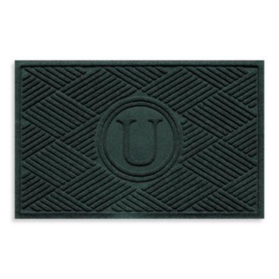 """Weather Guard™ Diamonds Monogrammed """"U"""" 23-Inch x 35-Inch Door Mat in Evergreen"""