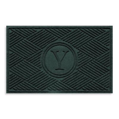 """Weather Guard™ Diamonds Monogrammed """"Y"""" 23-Inch x 35-Inch Door Mat in Evergreen"""
