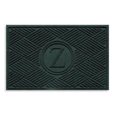 """Weather Guard™ Diamonds Monogrammed """"Z"""" 23-Inch x 35-Inch Door Mat in Evergreen"""