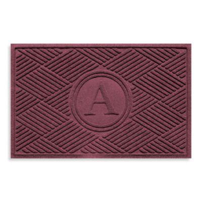 """Weather Guard™ Diamonds Monogrammed """"A"""" 23-Inch x 35-Inch Door Mat in Bordeaux"""