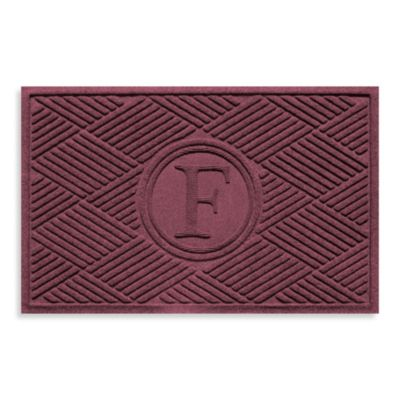 "Weather Guard™ Diamonds Monogrammed ""F"" 23-Inch x 35-Inch Door Mat in Bordeaux"