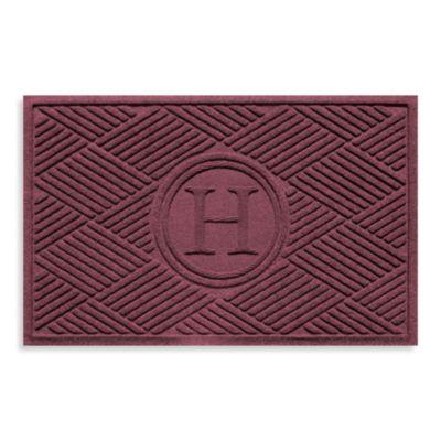 """Weather Guard™ Diamonds Monogrammed """"H"""" 2-Foot x 3-Foot Door Mat in Red/Black"""