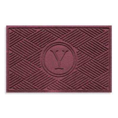 """Weather Guard™ Diamonds Monogrammed """"Y"""" 2-Foot x 3-Foot Door Mat in Red/Black"""
