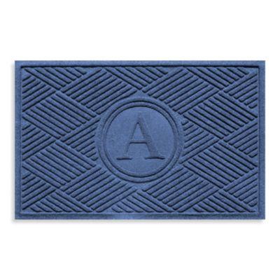 """Weather Guard™ Diamonds Monogrammed """"A"""" 23-Inch x 35-Inch Door Mat in Navy"""