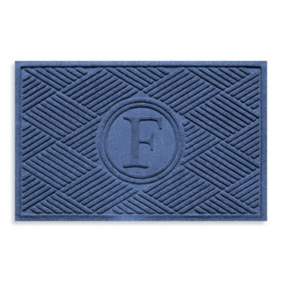 "Weather Guard™ Diamonds Monogrammed ""F"" 23-Inch x 35-Inch Door Mat in Navy"