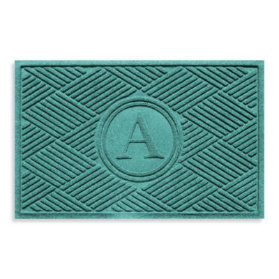 """Weather Guard™ Diamonds Monogrammed """"A"""" 23-Inch x 35-Inch Door Mat in Aquamarine"""