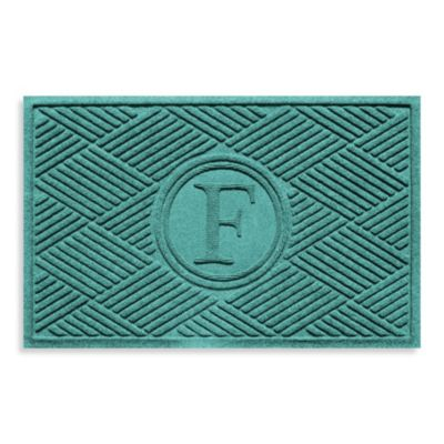 "Weather Guard™ Diamonds Monogrammed ""F"" 23-Inch x 35-Inch Door Mat in Aquamarine"