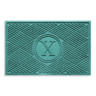 """Weather Guard™ Diamonds Monogrammed """"X"""" 2-Foot x 3-Foot Door Mat in Red/Black"""