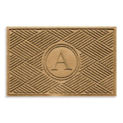 "Weather Guard™ Diamonds Monogrammed ""A"" 23-Inch x 35-Inch Door Mat in Gold"
