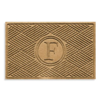 "Weather Guard™ Diamonds Monogrammed ""F"" 23-Inch x 35-Inch Door Mat in Gold"