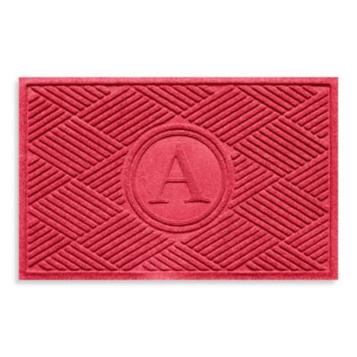 """Weather Guard™ Diamonds Monogrammed """"A"""" 23-Inch x 35-Inch Door Mat in Solid Red"""