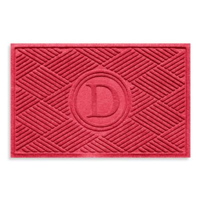 "Weather Guard™ Diamonds Monogrammed ""D"" 23-Inch x 35-Inch Door Mat in Solid Red"