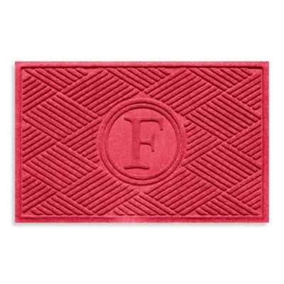 "Weather Guard™ Diamonds Monogrammed ""F"" 23-Inch x 35-Inch Door Mat in Solid Red"