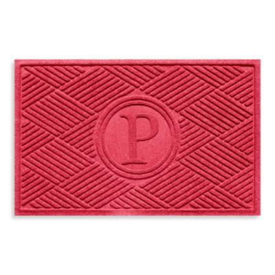 """Weather Guard™ Diamonds Monogrammed """"P"""" 23-Inch x 35-Inch Door Mat in Solid Red"""