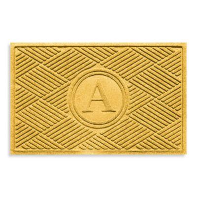"Weather Guard™ Diamonds Monogrammed ""A"" 23-Inch x 35-Inch Door Mat in Yellow"