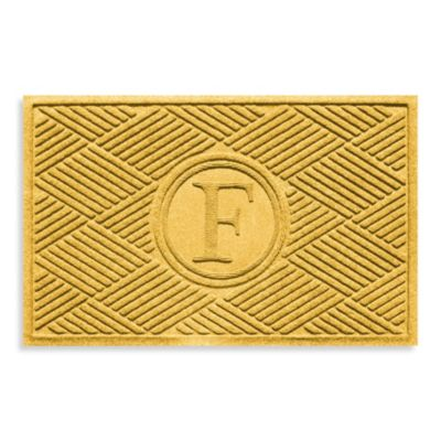 "Weather Guard™ Diamonds Monogrammed ""F"" 23-Inch x 35-Inch Door Mat in Yellow"