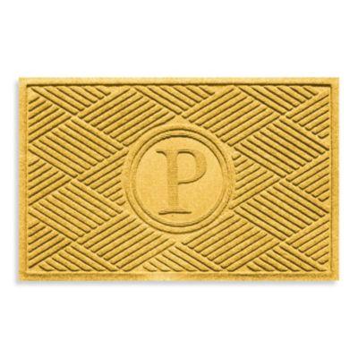 """Weather Guard™ Diamonds Monogrammed """"P"""" 23-Inch x 35-Inch Door Mat in Yellow"""