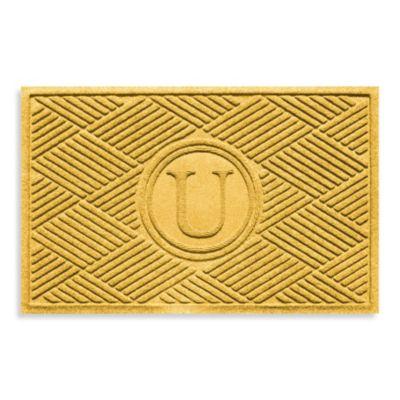 """Weather Guard™ Diamonds Monogrammed """"U"""" 2-Foot x 3-Foot Door Mat in Red/Black"""